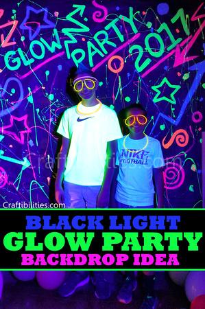 Diy Black Light Glow Party Idea Neon Paint Backdrop Photo Booth Fun Decor