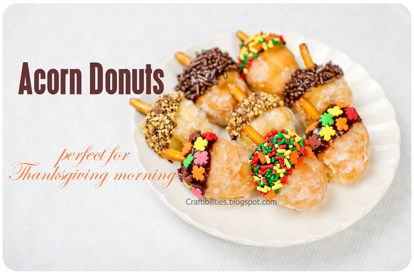 Thanksgiving BREAKFAST treat! Two cute ideas! ACORN donuts and ...