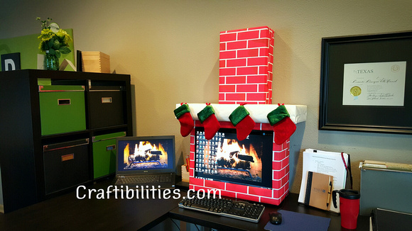 holiday office idea fireplace computer cubicle fun diy christmas decorations - Office Desk Christmas Decorations