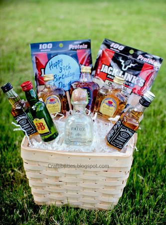 Basket Of Booze Fun Guy Birthday Gift Idea