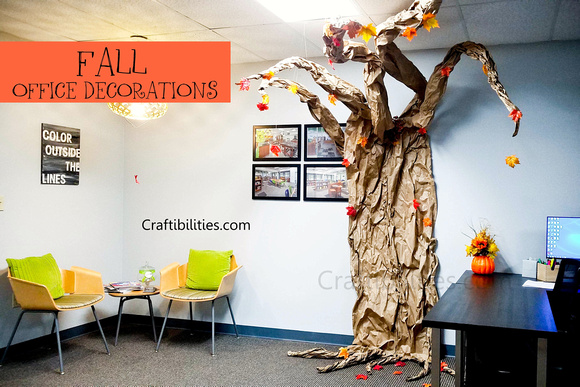 November Fall Office Decoration Ideas Leaves Glitter Pumpkins Tree Easy Inexpensive Autumn Cubical Fun