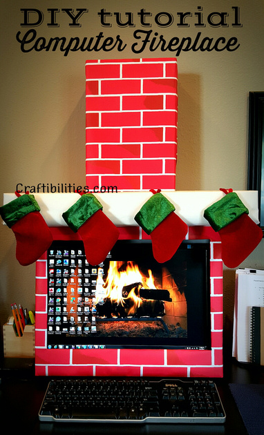 Holiday Office Idea Fireplace Computer Cubicle Fun
