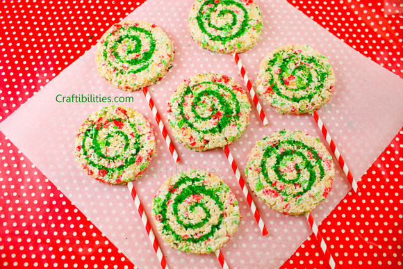 rice krispie lollipop treats pinwheel red green holiday edition christmas colors holiday fun